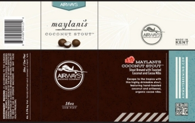 Airways Maylani's Coconut Stout draft, canned 4-packs roll out this week